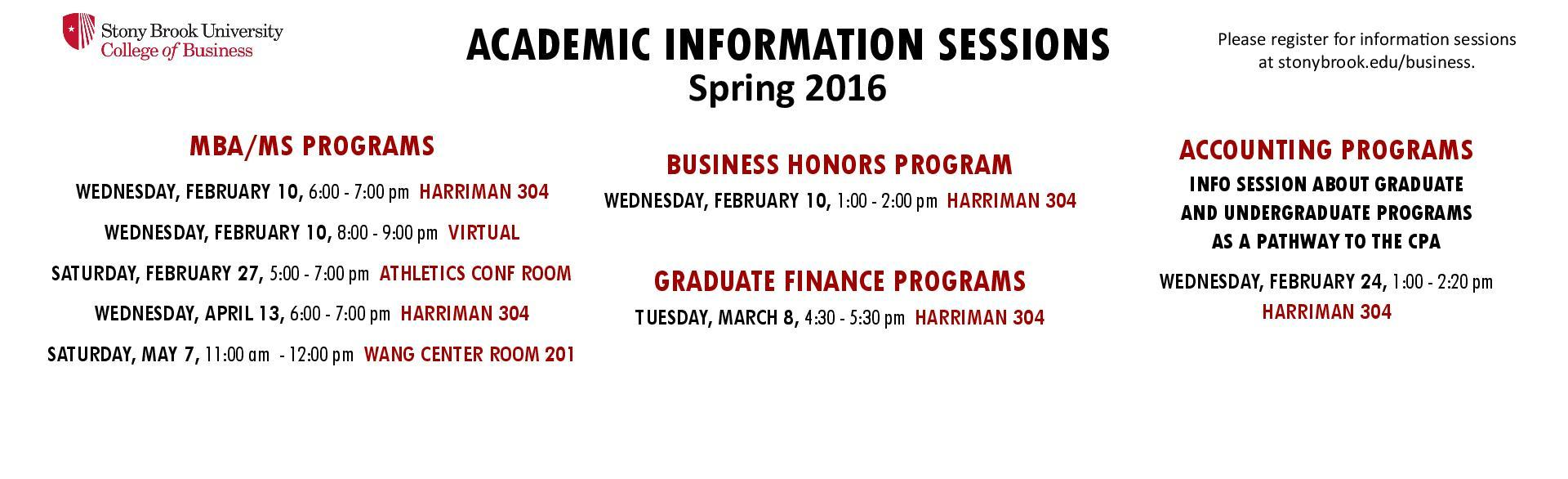 Spring 16 Academic Information Sessions