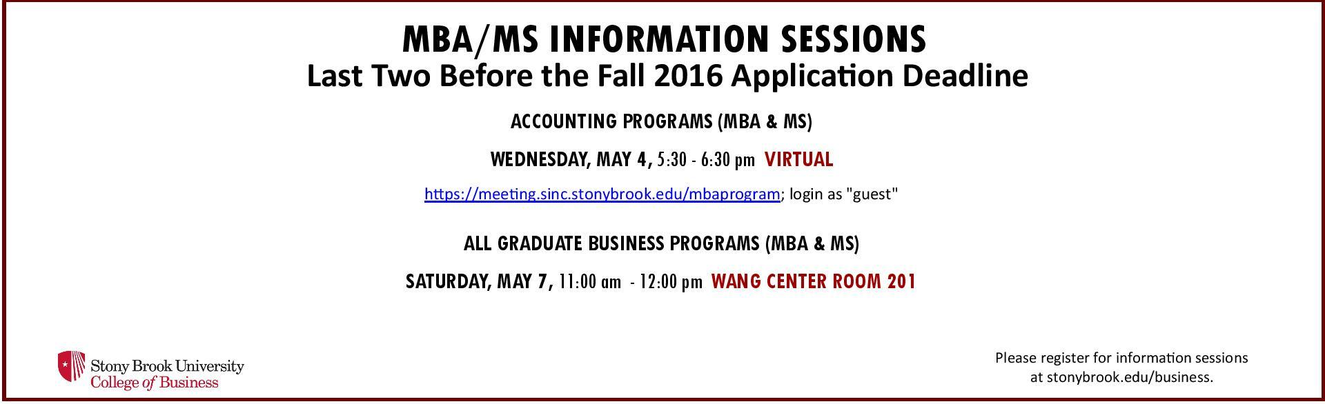 MBA & MS info sessions spring 16
